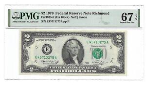 1976 $2 RICHMOND FRN, PMG SUPERB GEM UNCIRCULATED 67 EPQ BANKNOTE