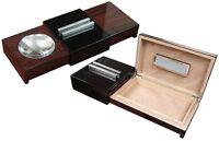Sliding Cigar Ashtray Humidor W/ Humidifier - Brazilian Rosewood Desktop Humidor