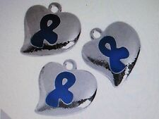 12 HEART CHARMS cancer child abuse prevention BLUE AWARENESS RIBBON charm