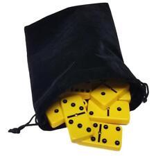 Domino Double Six 6 Yellow Big Tournament Pro Size Spinners Deluxe Velvet Bag