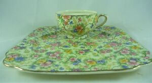 WONDERFUL VINTAGE EMPIRE WARE CHINTZ MAY TIME TENNIS SET CUP SAUCER # 18967