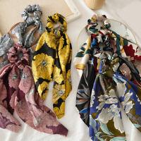 Flower Print Scrunchies Satin Hair Scarf Elastic Hair Ties Bow Hair Rope F016