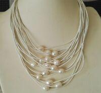 15 Stränge weiß Leder Seil & 10-11 mm weiß Perle Halskette , 17-20 Zoll