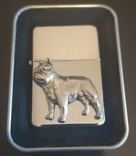 More details for french bulldog  petrol/oil windproof fliptop chrome/pewter lighter frenchie