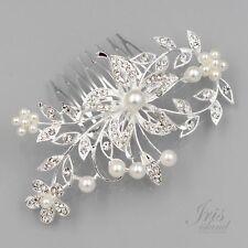 Hair Comb Pearl Crystal Headpiece Hair Clip Wedding Accessories 09883 Flower S