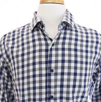 Tallia Mens Button Up Front Dress Shirt Check Gingham Blue Gray Sz Large ~ 16.5