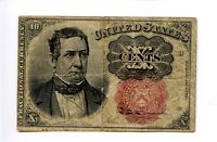 Fifth 5th Issue 10C 10 Ten Cent Fractional Currency Red Seal Crease 1874 AA0931