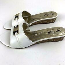 SOFT STYLE HUSH PUPPIES White Slip On Comfort Shoe Sandal Cork Wedge Sz 6 NEW