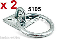 2 Galvanized RING ON PLATE chain anchor Trailer Dog Wall or Floor Home Security
