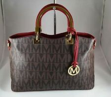 NEW Milan Women Fashion Handbag Tote Monogram  BM3322 Red Purse Crossbodybag