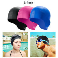 3x Waterproof Silicone Swimming Cap 3D Ergonomic Design Ear Pockets for Adult