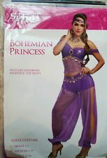 Adult Women's Purple Arabian Belly Dancer Bohemian Princess Halloween Costume M