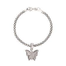 Butterfly Dangling Pendant Charm, White Gold Filled Bracelet for Women