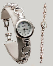 INFINITY: WOMENS STERLING SILVER 925  BOW/ROUND LINKS ANALOG QUARTZ WATCH