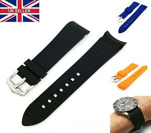 Curved Arc End Waterproof Silicone Rubber Diver Watch Strap Band 18mm 20mm 22mm
