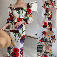 Women Spring Dress Vintage Puff Sleeve Baggy Fit Square Neck Maxi Floral Dresses