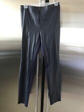BCBG MAXAZRIA Faux-Leather Front & Knit Navy Leggings S