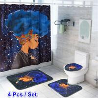 4Pcs Girl Waterproof Shower Curtain Set Non-Slip Bath Mat Rug Toilet Lid Cover