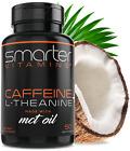 SmarterVitamins 200mg CAFFEINE PILLS Advanced Energy & Focus L-Theanine + MCT's