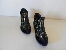 Men's Torrid Ankle Boots Black Faux Suede W/Gold Embroidery Zipper 12 W Wide