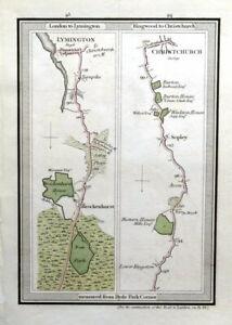HAMPSHIRE,London LYMINGTON, CHRISTCHURCH Mogg Antique Road Strip Road Map 1817