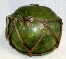 "Antique Dark Green 8"" Japanese Hand Blown Glass Float, Original Netting"
