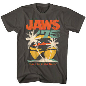 Jaws Shark 1975 Palms Tropical Sunset Men's T Shirt Fin Surf Don't Go in Water
