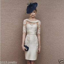 Champagne Short Mother of the Bride Dresses 3/4 Sleeves Women Party Gown Dresses