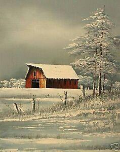 Everett Woodson Barn In The Snow- Framed