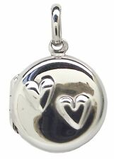 HEART LOCKET Pendant 925 Sterling SILVER 15mm Diameter : Family Round Love Photo