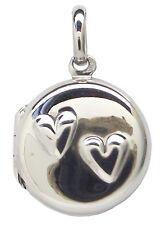 Relicario Corazón Colgante de plata esterlina 925 15mm de diámetro: foto de familia alrededor de amor