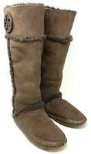 Authentic TORY BURCH Emblem Logo Fur Long Boots Brown Women's Rank AB