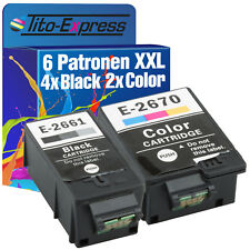 6 Cartouches D'imprimante xxl proserie pour Epson te266-te267 workforce wf-100 w 4k+2c