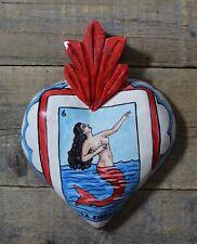 Mermaid Loteria Handmade & Painted Wood Heart Pátzcuaro Mexican Folk Art