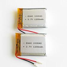 2 Pcs 1200mAh Lipo Batería de polímero 3.7V para cámara de teléfono celular GPS DVD GPS 103040