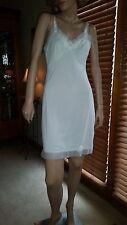 Vtg 32 White Kayser Nylon Full Dress Slip Gown Lingerie Beautiful Chiffon Trim