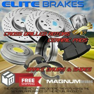 Front Drilled Rotors & Pads + Rear Drums & Shoes for 2009-2015 Toyota Corolla