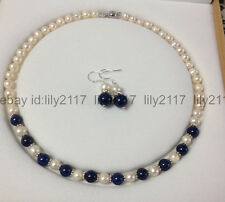 Charming! White Akoya Cultured Pearl & Blue Lapis Lazuli necklace earrings set