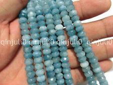 5x8mm Faceted Dark Aquamarine Gemstone Rondelle Loose Beads 15inch JL200