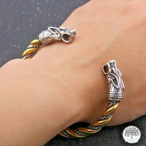 Viking Vikings Open Cuff Bracelet Fenrir Odin Wolf Bangle Solid Stainless Steel