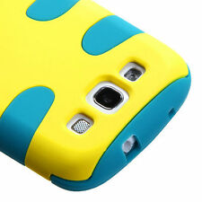For Samsung Galaxy S III 3 Hybrid FISHBONE Rubber Case Phone Cover Yellow Teal