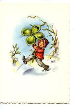 Little Boy w/ Large Good Luck 4 Four Leaf Clover-Signed Artwork-German Postcard