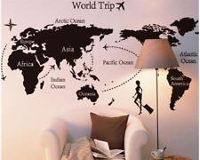 Wandtattoo Wandsticker Wandaufkleber Weltkarte World Tour Schwarz 70 x 130 W044