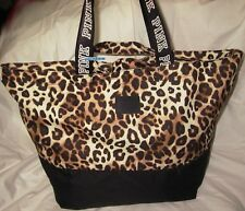 New VICTORIA'S SECRET PINK Logo Leopard Double Strap Tote Bag Weekender Zip Top