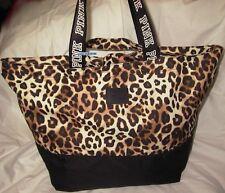 NIP VICTORIA'S SECRET PINK Leopard Double Strap Tote Bag Weekender Beach Zip Top