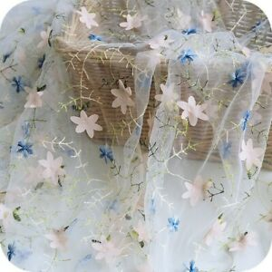 3D Flower Embroidered Sheer Mesh Fabric DIY Wedding Dress Crafts Cloth By Meter