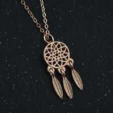 Gold Plated Dreamcatcher Charm Pendant Necklace Indian Feather Tribal Dream