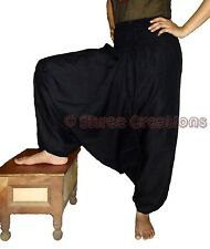 Women's Black Cotton Harem Pants Yoga Alibaba Genie Aladdin Hippie Dance Trouser