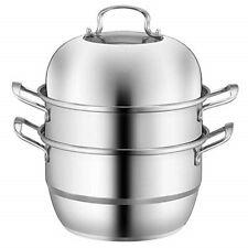 32cm 3-Tier Stainless Steel Food Steamer cooking pot, steam soup pot steamer