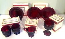 Vintage Avon Cape Cod Ruby Glass 7pc Lot Dessert Plates Soup Bowl Goblet Creamer